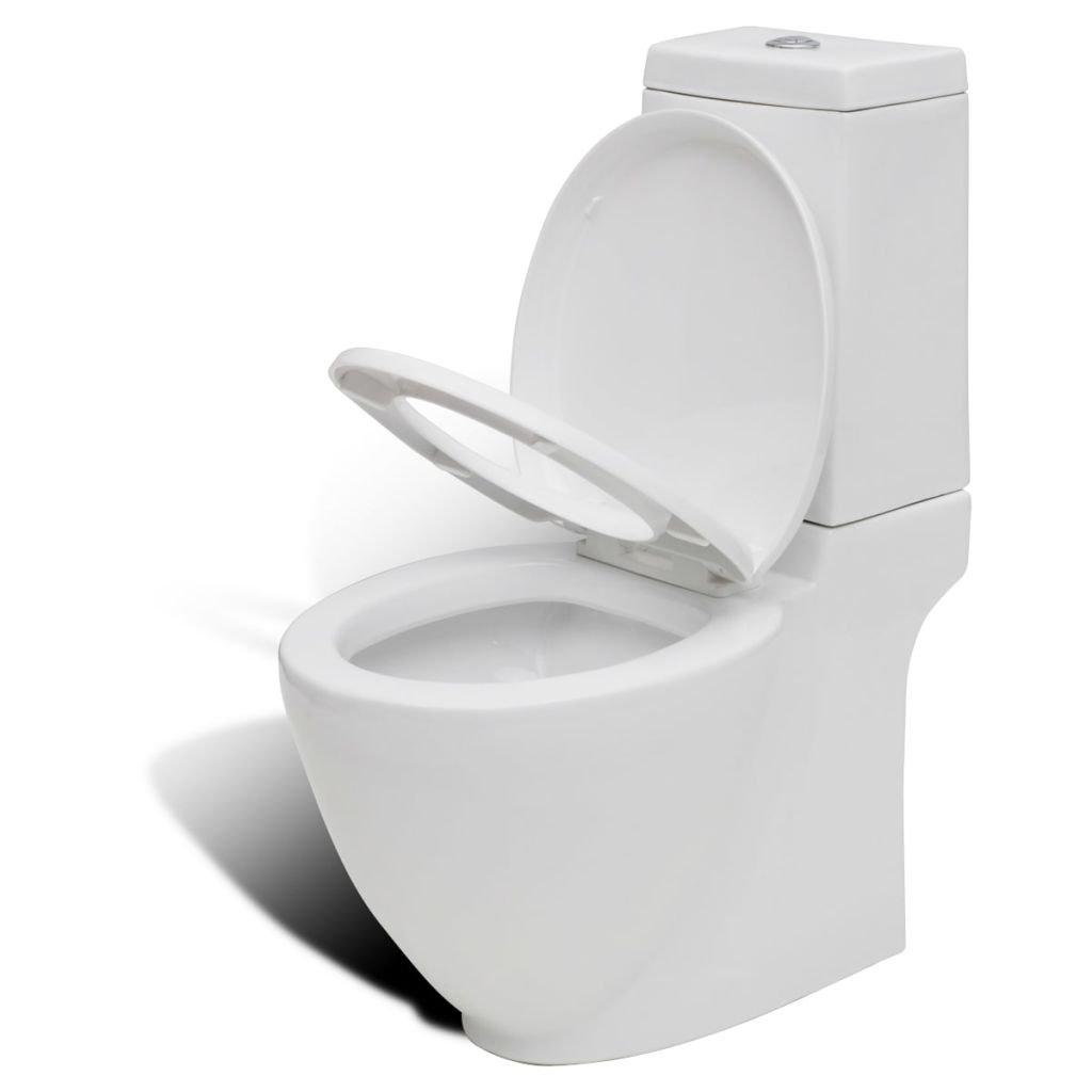 Pack WC Inodoro Retrete de una pieza en cuadro Cer/ámico Blanco Dise/ño especial