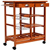 Eight24hours 29 Inch Portable Rolling Tile Top Kitchen Trolley Cart with 6-Bottle Wine + FREE E-Book