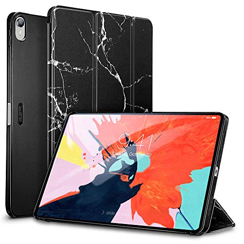 ESR Marble Trifold Case for iPad Pro 11 2018, Lightweight Stand Smart Case[Apple Pencil Charging not Supported],Microfiber Lining,Hard Back Cover,Compatible with iPad Pro 11 (2018), Black Marble