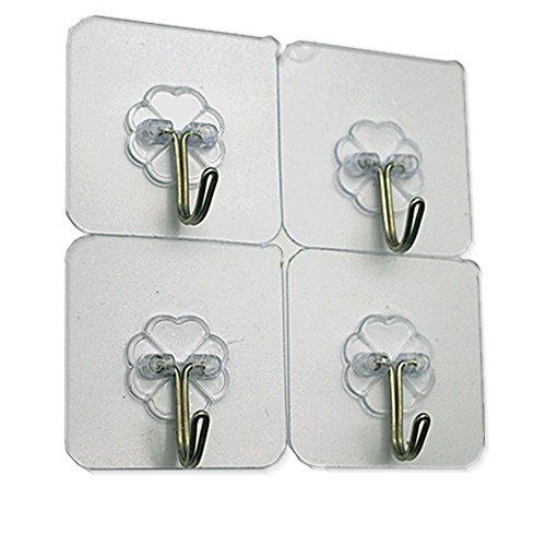 TEUMI Command Hooks Transparent Heavy Duty Command Hook Wall Mount Hanging Bathroom Kitchen Decorative (4)