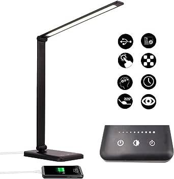 Lámpara Escritorio LED, Lámparas de Mesa USB Recargable con Temporizador, Plegable Luz con 5 Modos &5 Niveles de Brillo, Lámpara de Oficina Control Táctil Cuidado Ocular para Estudio Lectura, Negro
