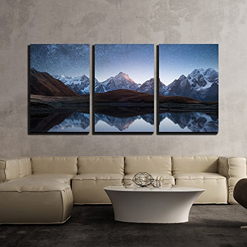 Night Sky with Stars and the Milky Way over a Mountain Lake x3 Panels