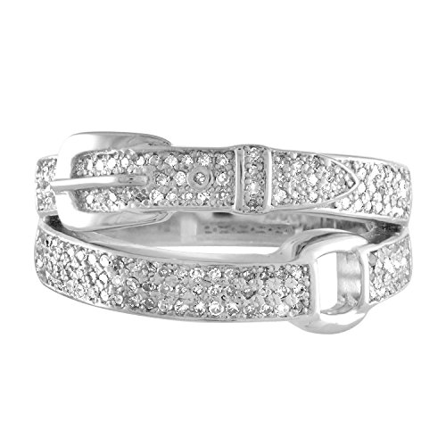 Sterling Silver Diamond Buckle Ring - JewelMore 1/2 CT. T.W. Diamond Belt Buckle Ring in Sterling Silver (H-I / I1-I2)
