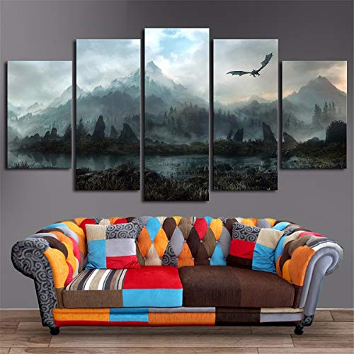 Dragon Painting - JESC 5 Piece HD Wall Art Picture Game of Thrones Dragon Skyrim Painting Mural on Canvas for Living Room Decor