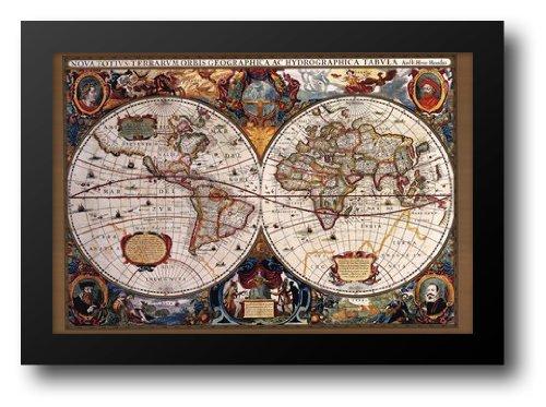 17世紀世界マップ40 x 28額入りアートプリント   B00676OH8M
