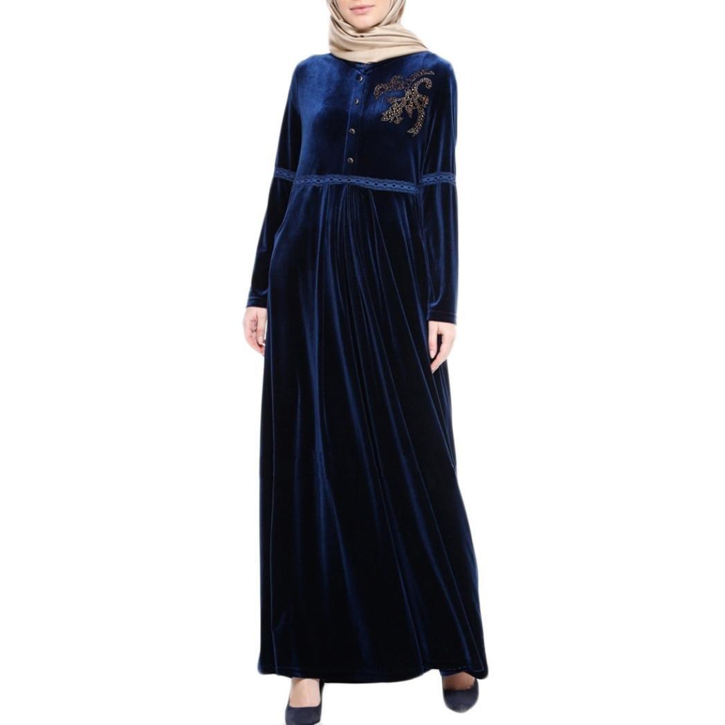 9d1f82fbe9 Amazon.com: Muslim Women Islamic Hot Drilling Velvet Robe Plus Size Middle  East Long Dress: Sports & Outdoors