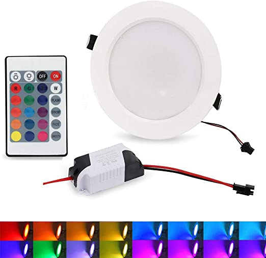 Lámpara de techo LED RGB empotrable con mando a distancia, cambia ...