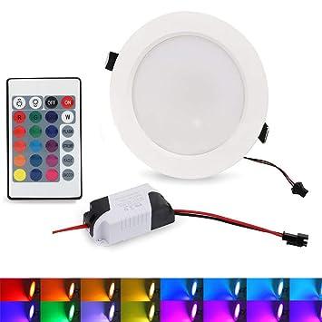 Lámpara de techo LED RGB empotrable con mando a distancia ...