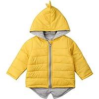 BOBORA Chaleco de invierno para niños y niñas, cálido, con capucha, con diseño de dinosaurio, arco iris, chaleco…