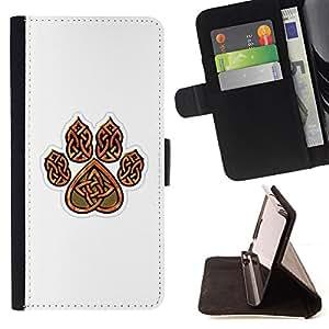 CLAW BROWN WHITE CELTIC BEAR PATTERN HEART/ Personalizada del estilo del dise???¡Ào de la PU Caso de encargo del cuero del tir????n del soporte d - Cao - For LG Nexus 5 D820 D821