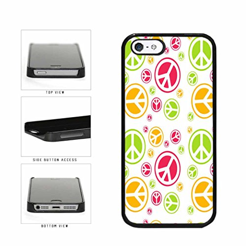 BleuReign(TM) Pink Yellow and Green Peace Signs Plastic Phone Case Back Cover iPhone 5 5s and iPhone SE (Peace Sign Trendy)