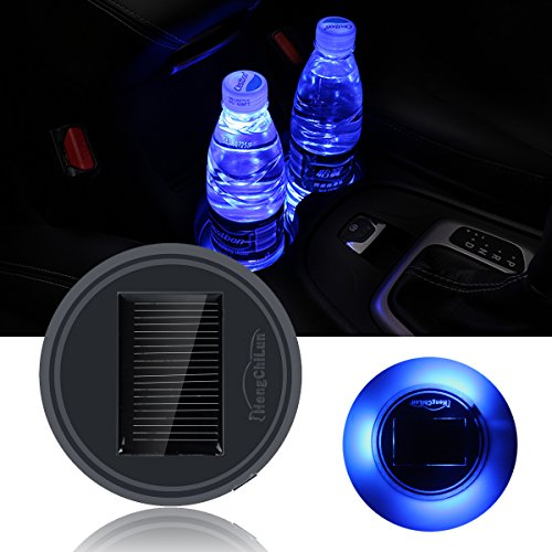 Netboat 2 pieces Universal Car Styling Solar Power Energy LED Car Interior Decoration Light Cup Coaster Mat Accessories for All Cars,Blue