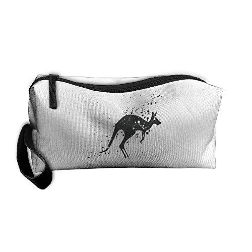 Cosmetic Bags Brush Pouch Makeup Bag Ink Painting Kangaroo Zipper Wallet Hangbag Pen Organizer Carry Case Wristlet Holder -