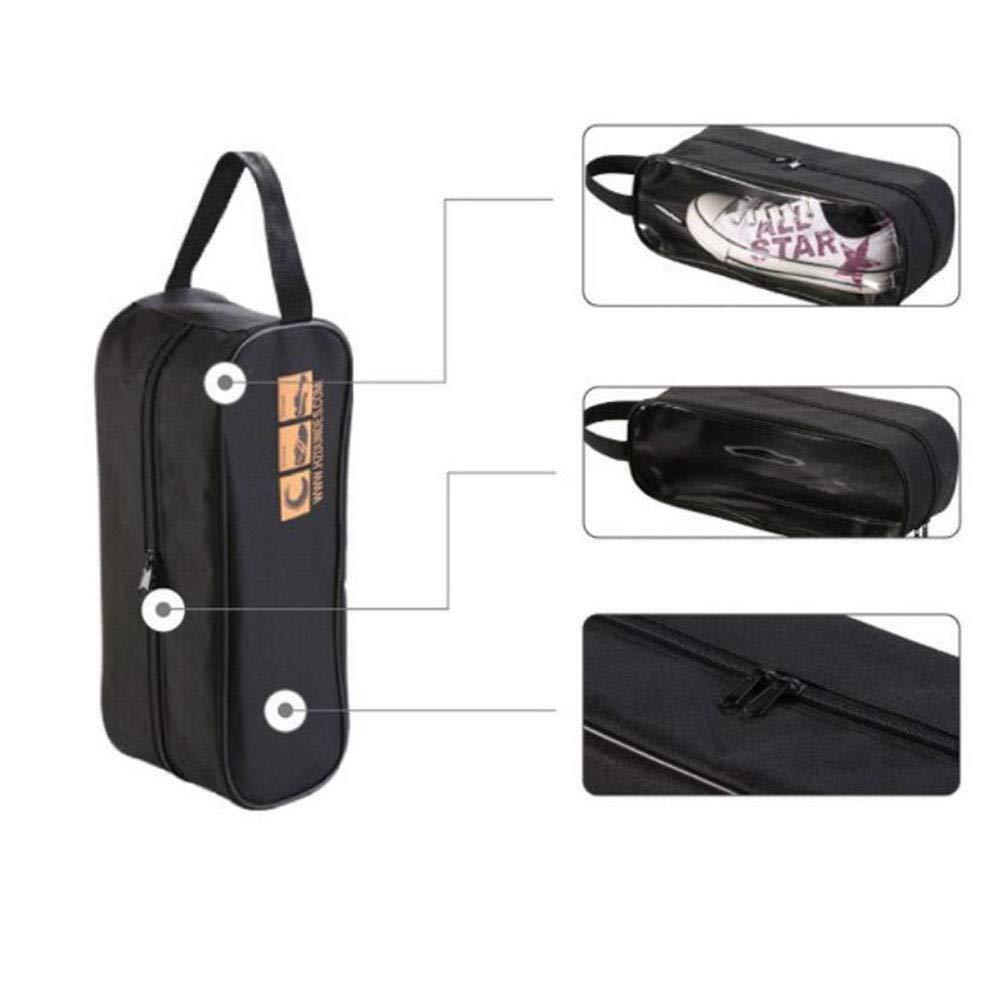 elegantstunning Waterproof Transparent Shoes Bag with Handle for Travel Storage Black