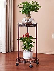 Macetas balcón de hierro forjado estante de múltiples capas salón de flores de estilo europeo (Color : Marrón, Tamaño : 62cm)