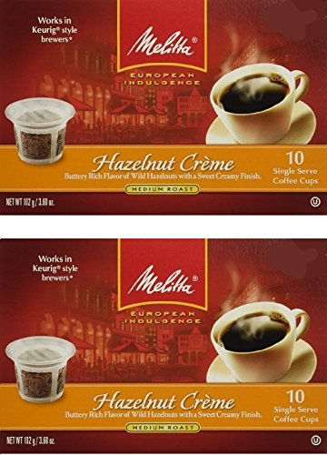 Melitta Single Cup Coffee for K-Cup Brewers, 10 Count (Pack of 2) (Hazelnut Creme) ()