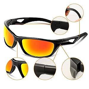 Tsptool Outdoor Sport Sunglasses Women TR Frame for Men Cycling Golf Running Fishing Hunting Boating Polaroid Glasses Black&Red