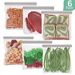 SPLF 6 Pack BPA FREE Reusable Gallon Freezer Bags, Extra Thick Reusable Ziplock Bags Leakproof Silicone and Plastic Free for Marinate Meats, Cereal, Sandwich, Snack, Travel Items, Home Organization
