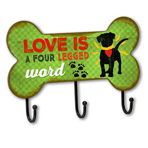 Love is a four legged word Dog Leash Holder Hook Rack, Bone