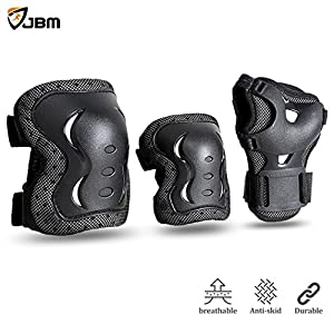 JBM Children Cycling Roller Skating Knee Elbow Wrist Protective Pads--Black / Adjustable Size, Suitable for Skateboard, Biking, Mini Bike Riding and Other Extreme Sports (Black, Youth / Teen)