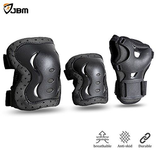 JBM Children & Adults Cycling Roller Skating Knee Elbow Wrist Protective Pads–Black / Adjustable Size, Suitable for Skateboard, Biking, Mini Bike Riding and Other Extreme Sports