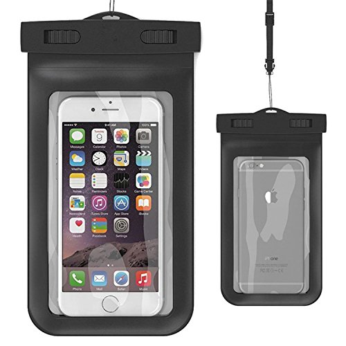 BK Waterproof Case,Asstar Universal Waterproof Case for Apple iPhone 6S, 6, 6S Plus, 5S, Galaxy S7, S6 Note 5, HTC, LG, Motorola up to 5.5 inch and Card, Passport, Wallet (Black)