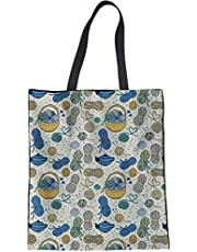 Trendy generous super cute Eco-Friendly Women's Organizer Reusable Grocery Linen Tote Bag Rose Red,Colour Name:Emoji Face-6 (Color : Knitting Lover)
