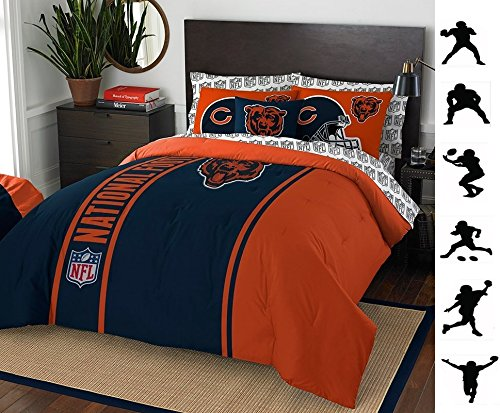 Chicago Bears Full Sheet Set (NFL CHICAGO BEARS 7pc FULL Size Comforter. Pillow Shams and Sheet Set + WALL DECALS)