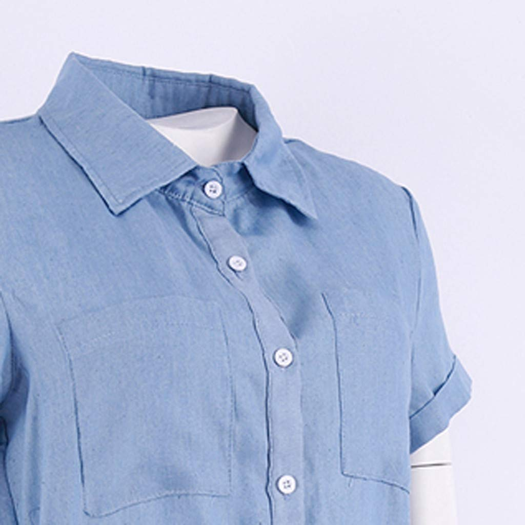 Yesmile Damen Sommerkleid Jeans Skirt Frauen Mode Minikleid Kurzarm Bluse Fr/ühling Sommer Elegant Jeanskleid Denim Blusekleid Cocktail Kleid
