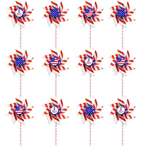 VHALE 12 Pack DIY Patriotic Paper Windmill Pinwheels Spinner for 4th of July, Independence Day, Memorial Day, Veteran Day, American Flag, Classroom Crafts, Garden Lawn Decor and Party Favors for Kids ()