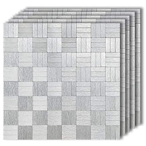 "HomeyMosaic Peel and Stick Tile Backsplash Stick on Kitchen Wall Decor Aluminum Surface Metal Mosaic Smart Tiles Sticker,Silver Strip Pattern(12""x12""x 5 Sheets)"