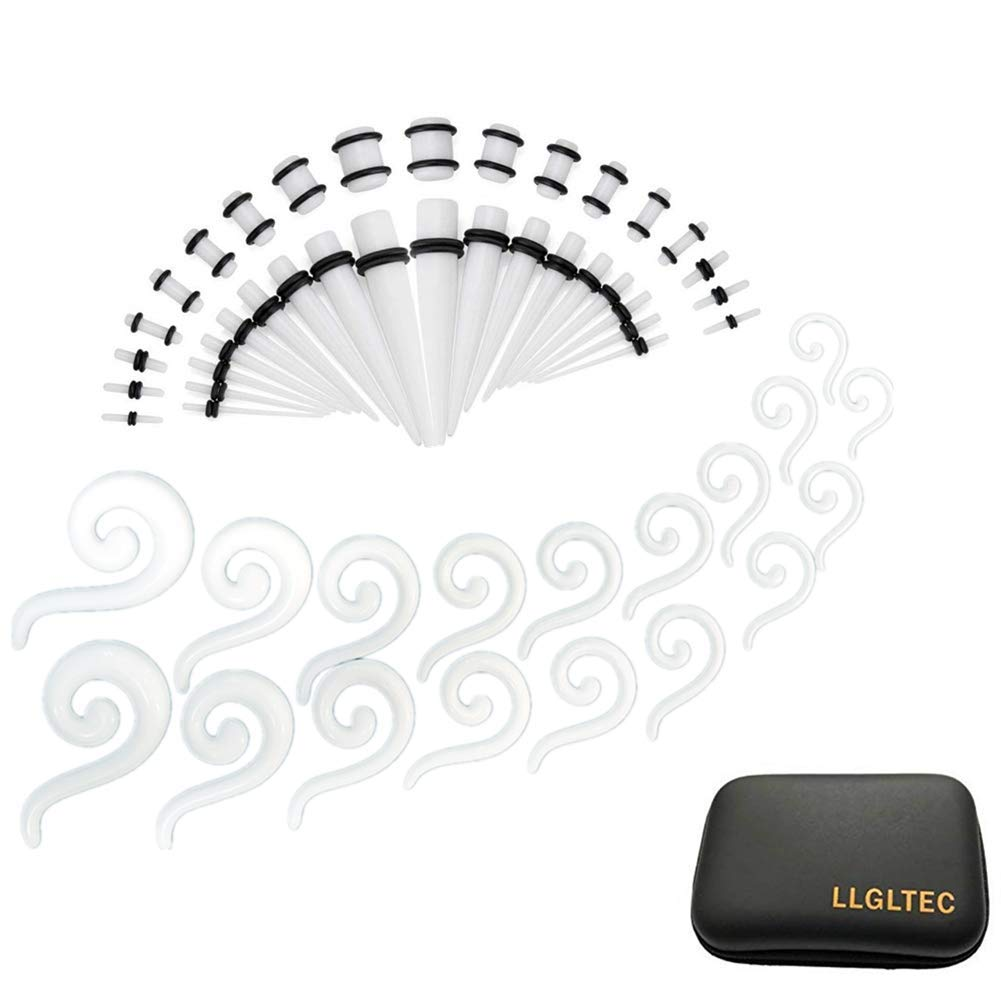 LLGLTEC Ear Stretching Kit 54 Pieces 14G-00G Acrylic Spiral Hanger Tapers Plugs Body Piercing Jewelry Set with EVA Box (White) by LLGLTEC