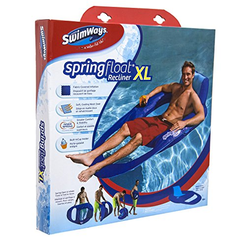 SwimWays Spring Float Recliner XL - Extra Large Swim Lounger for Pool or Lake