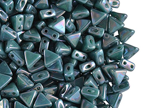 50pcs Kheops Par Puca Beads - Czech Pressed Glass Beads of Triangular Shape, with Two Holes, 6 mm, Opaque Blue Turquoise Nebula