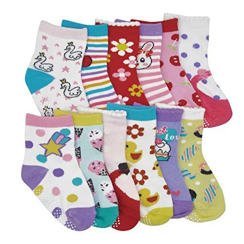 Toddler Boy Girl Socks 12 Pairs Baby Socks Non Skid Slipper Kid Socks Grips 3-5 Years Old Baby]()