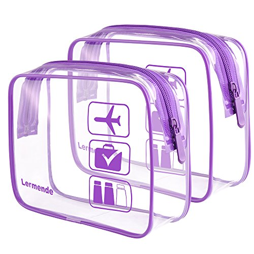 2pcs/pack Lermende Clear Toiletry Bag TSA Approved Travel Carry On Airport Airline Compliant Bag Quart Sized 3-1-1 Kit Luggage Pouch (Purple) (Quart Size Plastic Bag For Carry On)