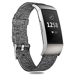 Hagibis Fabric Bands Compatible Fitbit Charge 3 and Fitbit Charge SE Fitness Activity Large Small Men Women