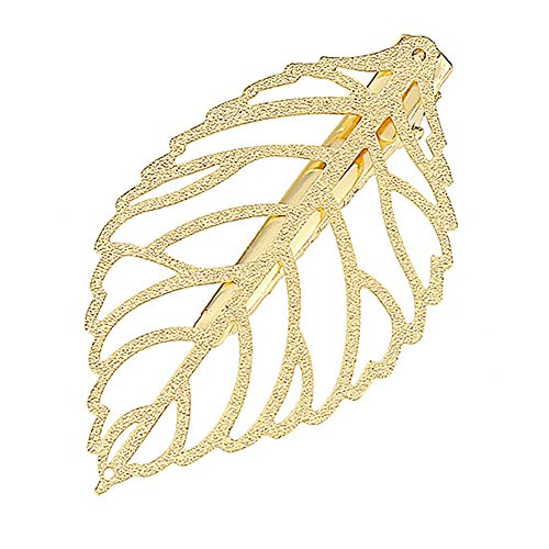 Young & Forever Girl's Quirky Hair Fascinator Gold Plated Leaf Hair Clip (Germany Clip Earrings)
