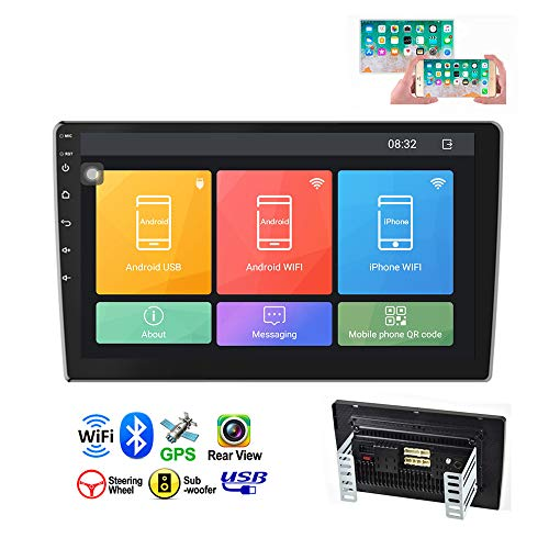 Camecho Double Din Car Stereo 10.1 HD 2.5D Touch Screen GPS Navigation Radio Bluetooth FM Player Support Android iOS Phone Mirror Link with WiFi AUX Dual USB DVR Backup Camera Input