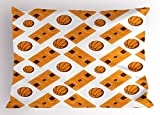 Ambesonne Basketball Pillow Sham, Sketch Art Style Game Field Gym Floor Vintage Style Pattern Grunge Look, Decorative Standard King Size Printed Pillowcase, 36 X 20 inches, Orange White Brown