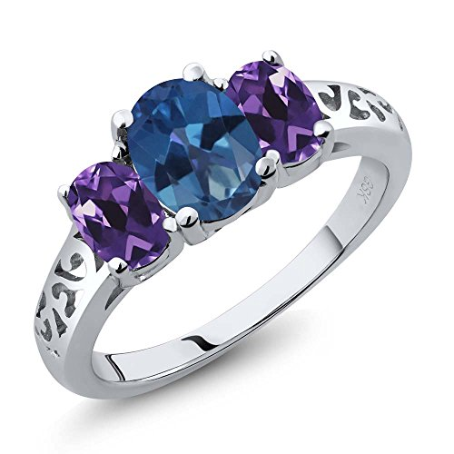 2.00 Ct Oval Royal Blue Mystic Topaz Purple Amethyst 925 Sterling Silver 3 Stone (Blue Topaz Purple Ring)