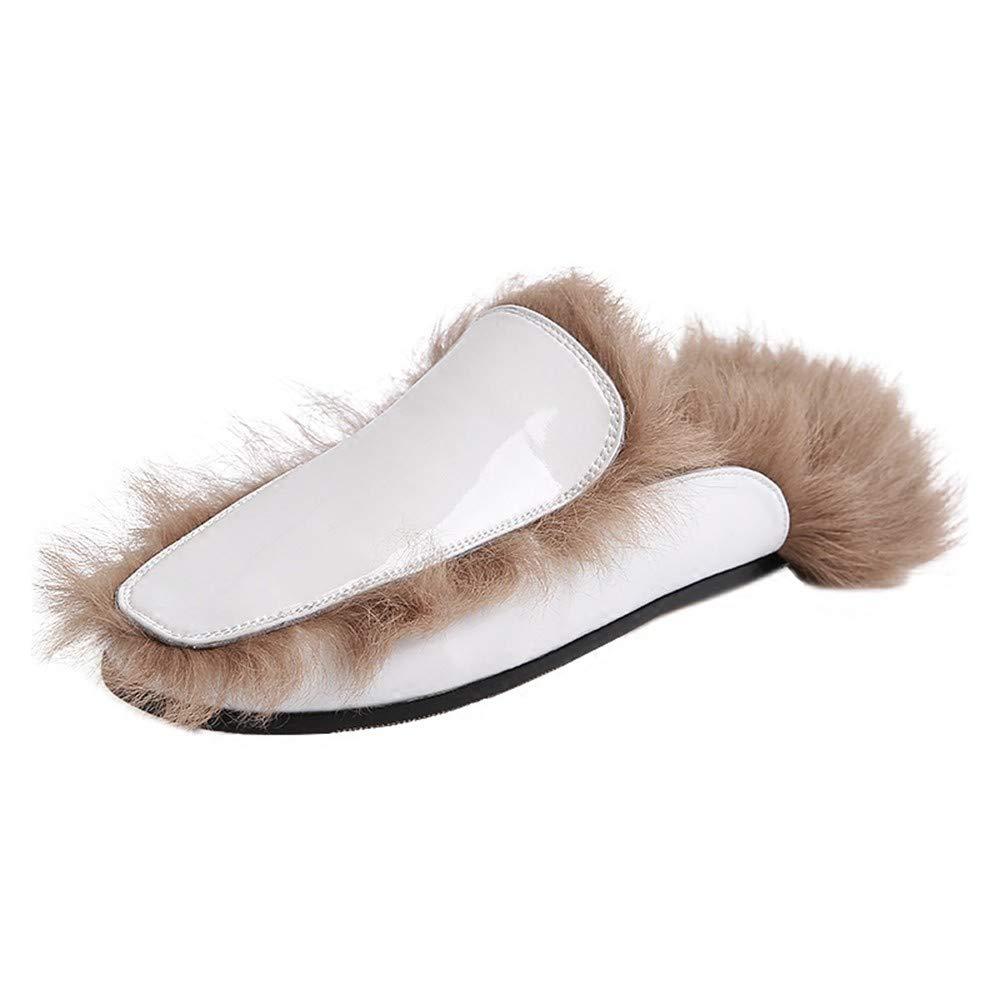 RJVCANERS Hausschuh Winter behaarte   Hausschuhe   weibliche   Mode   Wear   Square   warme   Baotou   Flache Bottomed   Abschleppen.