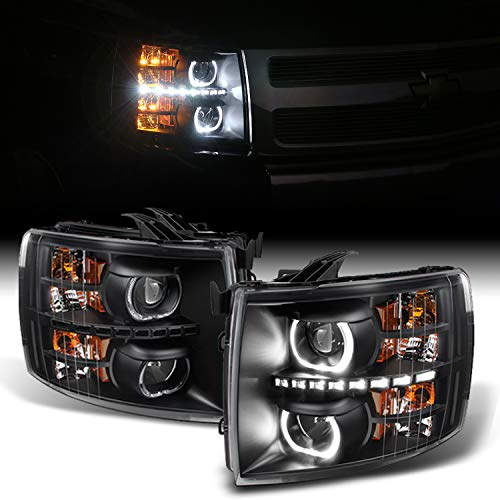For Silverado Black Exclusive Halo Projector SMD DRL LED Headlights Driver + Passenger Side Pair