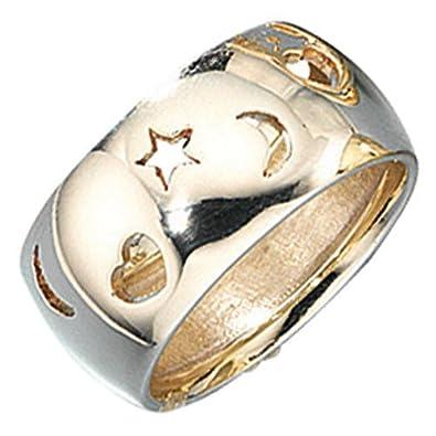 Breiter goldring mit stein  Breiter Goldring Ring Damenring aus 585 Gold Gelbgold ...