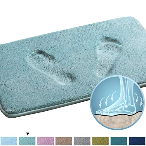 - Real Memory Foam Bathroom Rug Extra Absorbent Slip-Resistant Flannel Bath Mat Non Slip Dry Fast Machine-Washable Bath Mat, Luxury Gentle Bath Rug, Duck Egg Shell Blue, 20