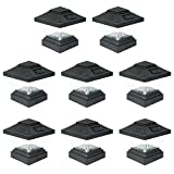 8 Pack Black Outdoor Garden 4 x 4 Solar LED Post Deck Cap Square Fence Light Landscape Lamp Lawn PVC Vinyl Wood