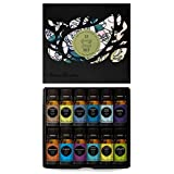 12/ 10ml Synergy Blend 100% Pure Aromatherapy Therapeutic Essential Oils Set-Anxiety Ease, Breathe Easier, Cleaning, Fighting Five (previously Four Thieves), Good Night, Hope, Meditation, Purify, Relaxation, Stress Relief, Sunshine Spice, Uplift