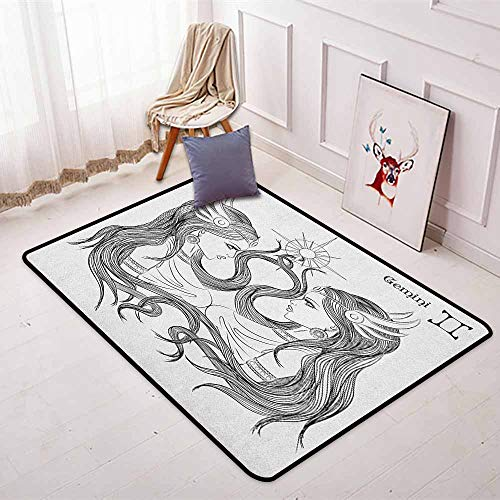 Zodiac Gemini Non-Slip Absorbent Carpet Line Art Style Ladies with Long Hair Looking at Each Other Esoteric Art for Floor Carpets W47.2 x L71 Inch Black and White