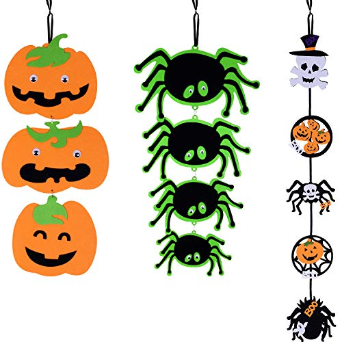 Jovitec Halloween Hanging Pumpkin Spider Ghost Bunting Banner Non-woven String Banner Pendant for Halloween Themed Party Decoration Supplies