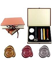 Yuccer Sello de Lacre, Vintage Sellos de Cera Palo de Lacre Stamp Seal Wax kit with Gift Box (B Rose)